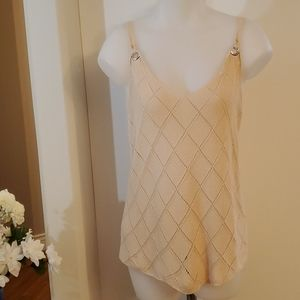 Sheilay  Crocheted Ramie Cotton Tank Large